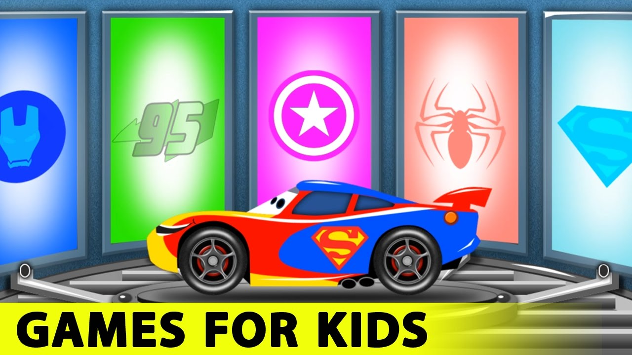 lightning mcqueen funny race in cars cartoon and spiderman for