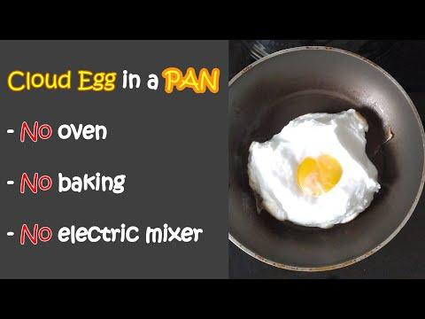 Cloud Egg with a Pan (No oven. No baking. No electric mixer)