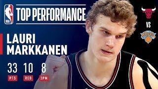 Lauri Markkanen Scores 33, Hits 8 Threes (Ties Bulls Rookie Record) | January 10, 2018