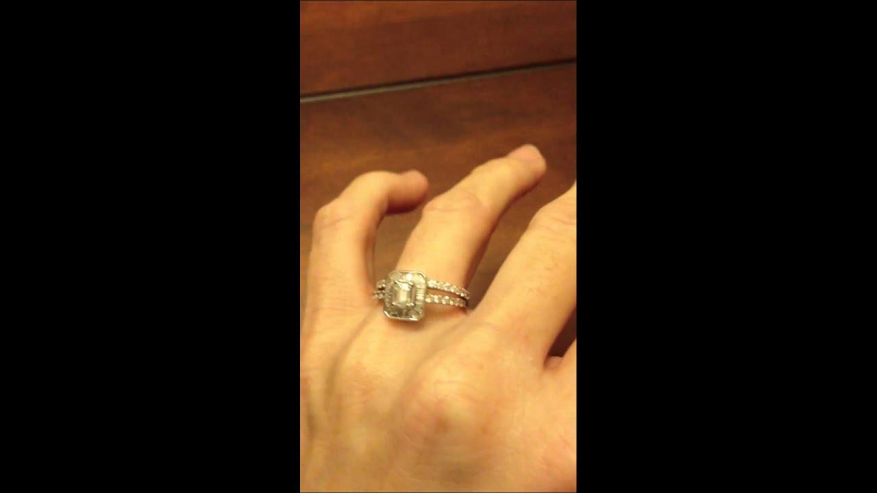 HELZBERG CERTIFIED Limited Edition Emerald Cut Halo Diamond Bridal Set