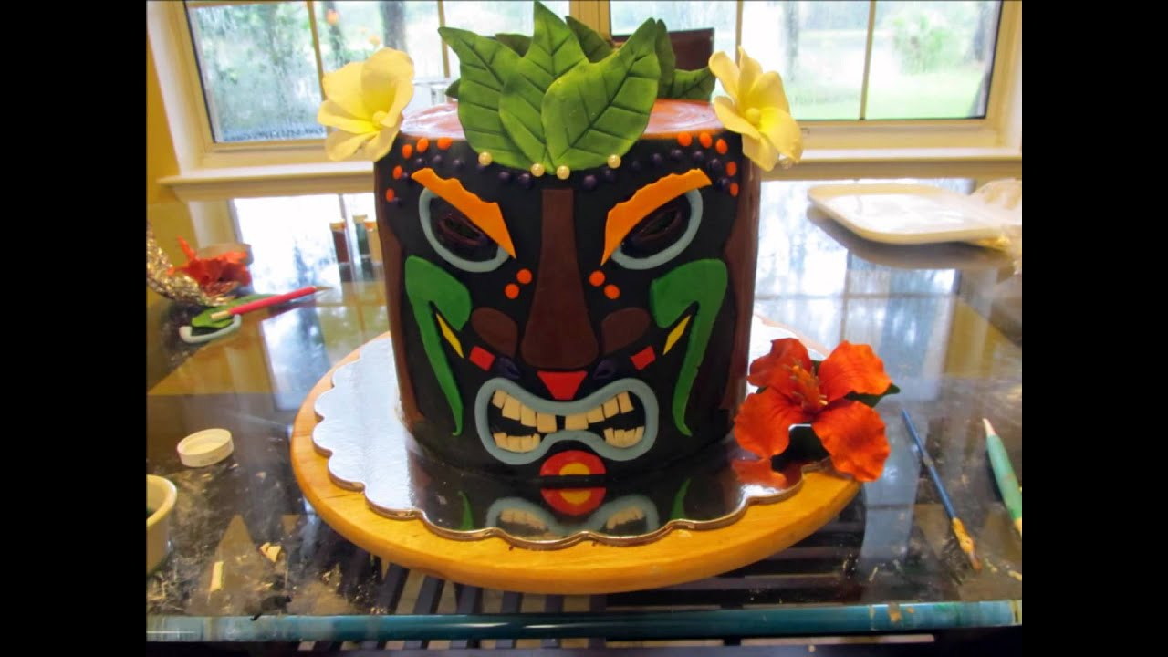 Tiki Mask Birthday Cake