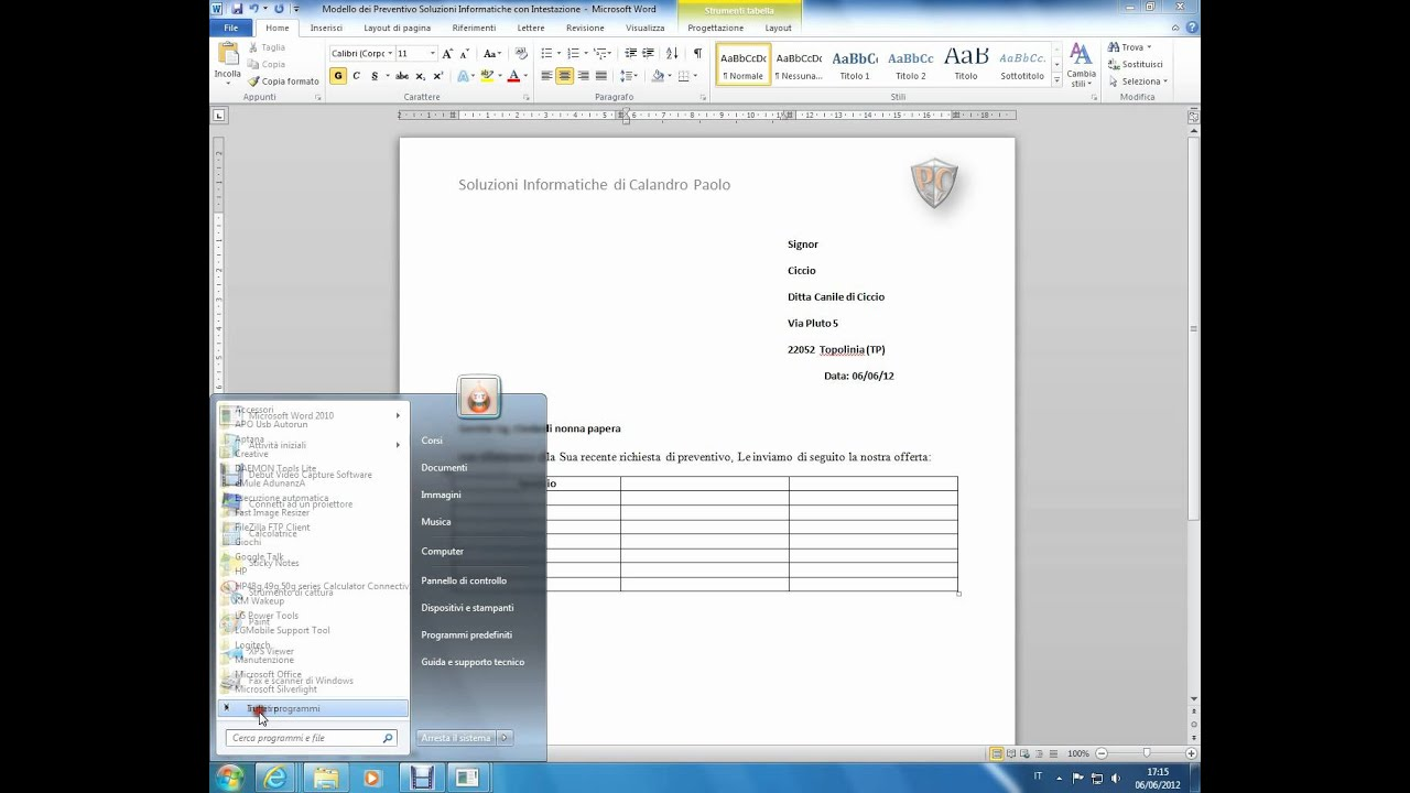 Corso Di Office Base Preventivo In Word 2010 Youtube
