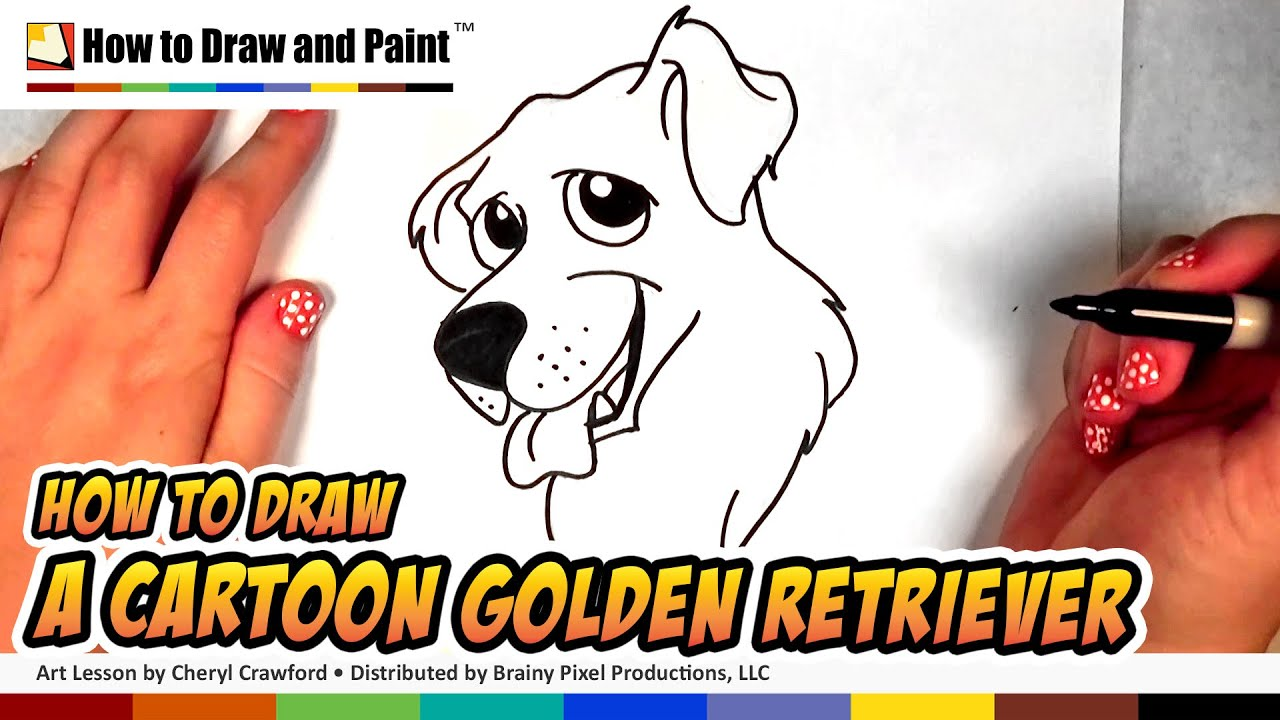 How To Draw A Dog Golden Retriever Drawing Art For Kids Cc