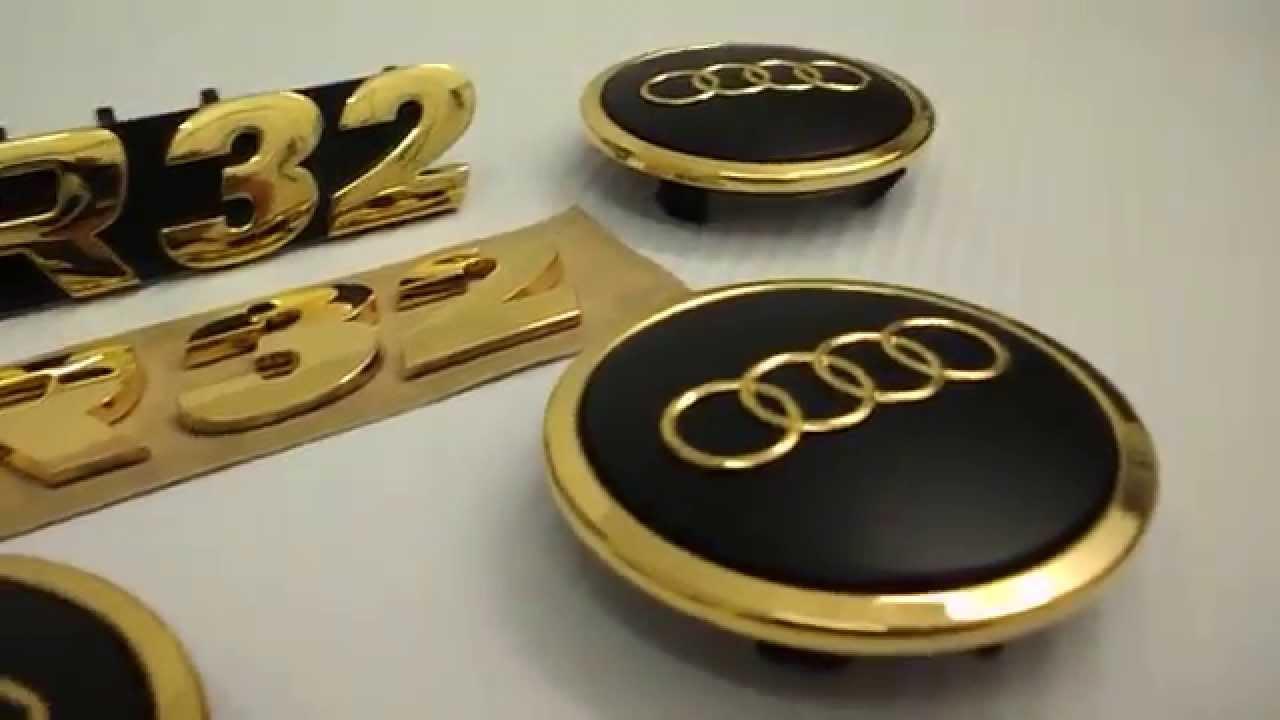 r32 embleme audi s line 24 karat vergoldet youtube. Black Bedroom Furniture Sets. Home Design Ideas
