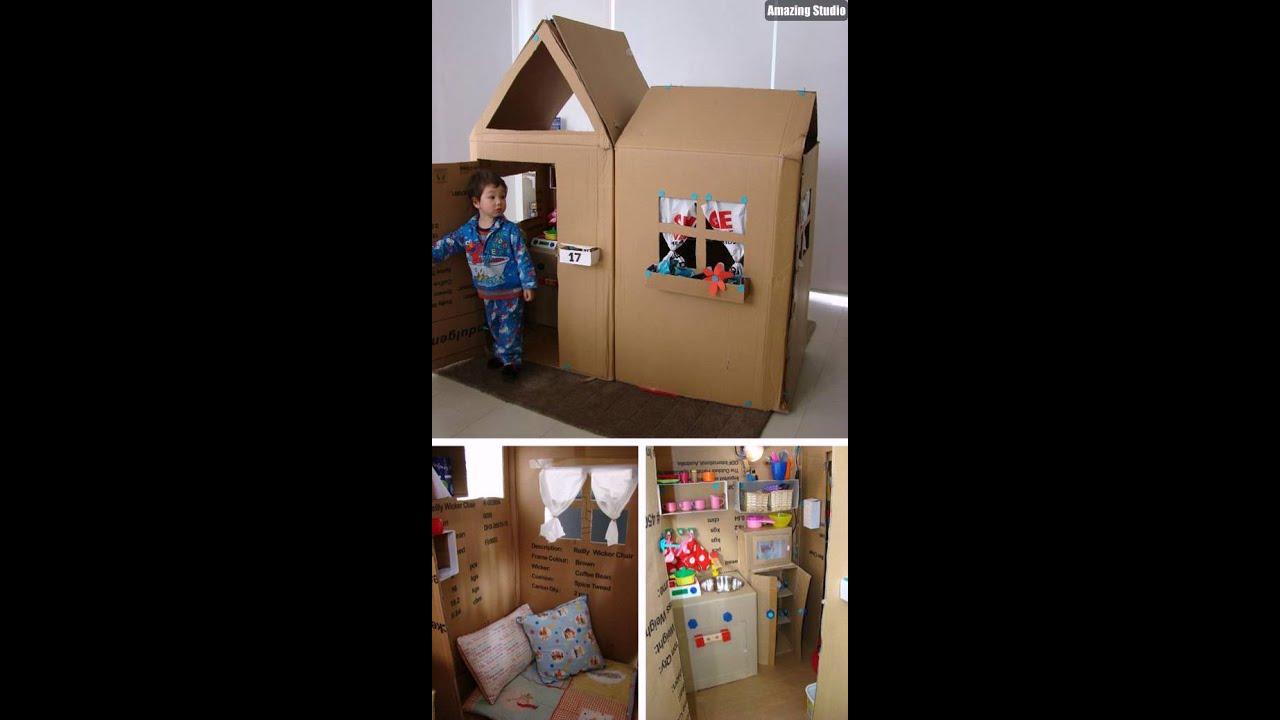 diy kids play house cardboard  youtube