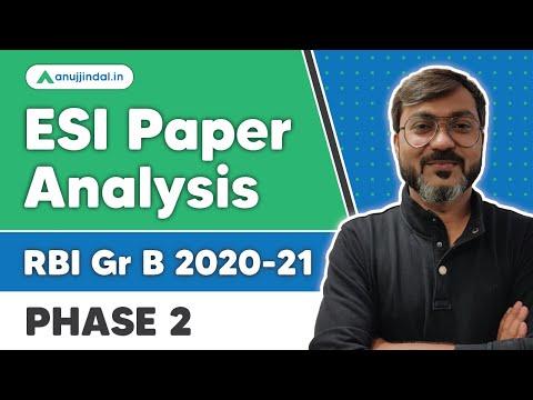 RBI Grade B   ESI Phase 2 Paper Analysis by - Manish Sir