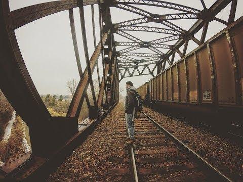 Train railroad bridge in Northbrook Illinois GoPro cinematic