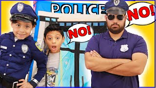 Policeman Ayden teaches good habits and manners pretend play for kids in costumes playhouse