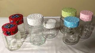 diy tampa para potes de vidro cover for glass jars tapa para frascos de vidrio