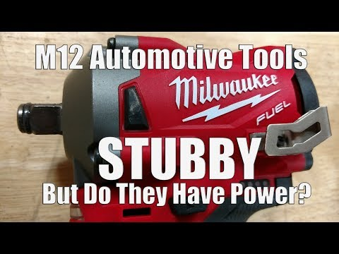 """Milwaukee M12 FUEL Stubby Impact Wrenches in 1/2"""" 3/8"""" & 1/4"""" Anvils For Tight Spaces"""