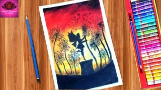 beautiful fairy scenery drawing for beginner with oil pastel step by step