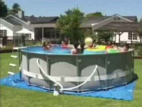 Piscina intex ultra frame circular youtube for Piscinas desmontables intex