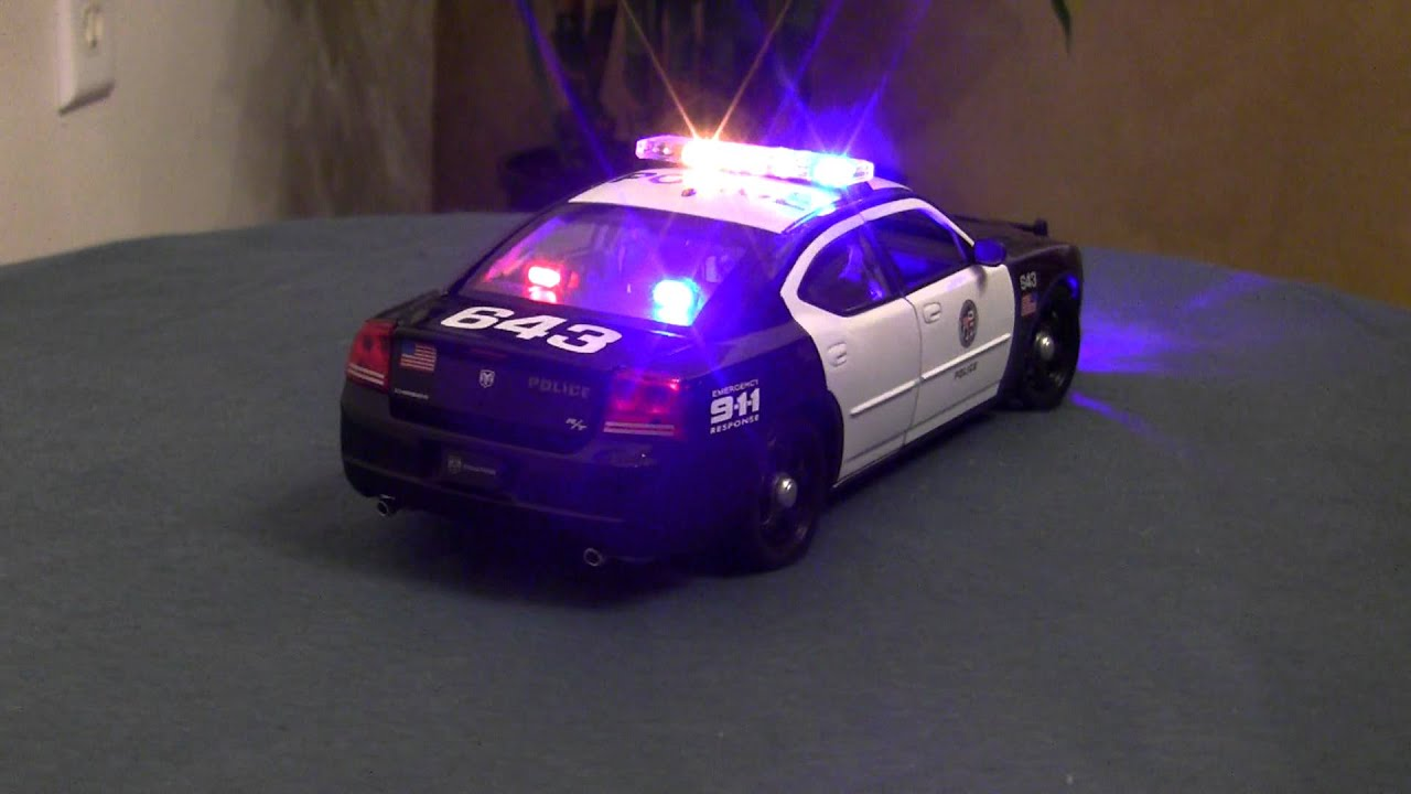 scale police model die cast dodge charger hemi rt lapd  flashing led youtube