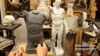 Лепка обрубовки торса (9) - Обучение скульптуре. Фигура, 14 серия