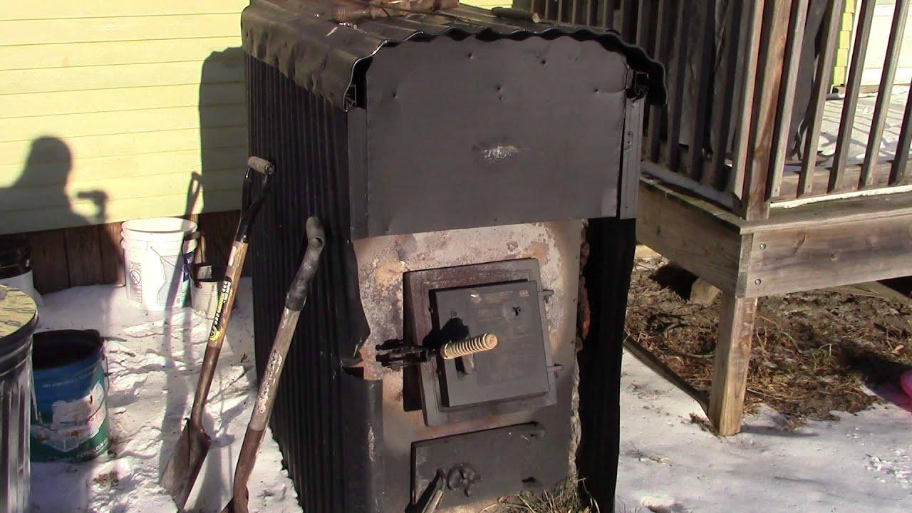 My Home Built Outside Wood Burner Hot Air Furnace - YouTube