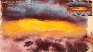 Быстрый урок живописи мастихином КАК НАРИСОВАТЬ АБСТРАКТНЫЙ ЗАКАТ