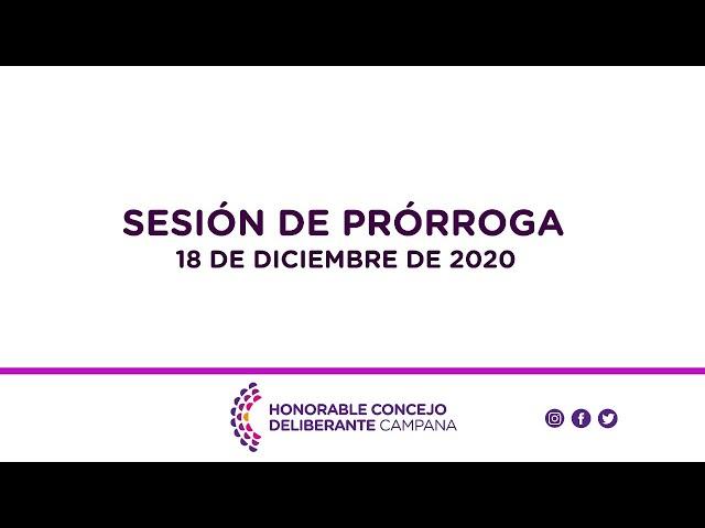 Sesión de prórroga, 18 de Diciembre de 2020.