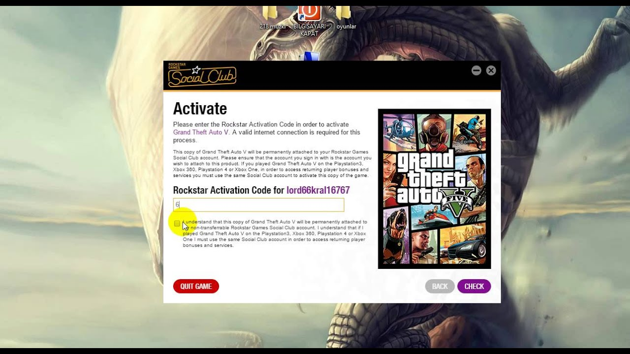 where to find rockstar activation code gta v