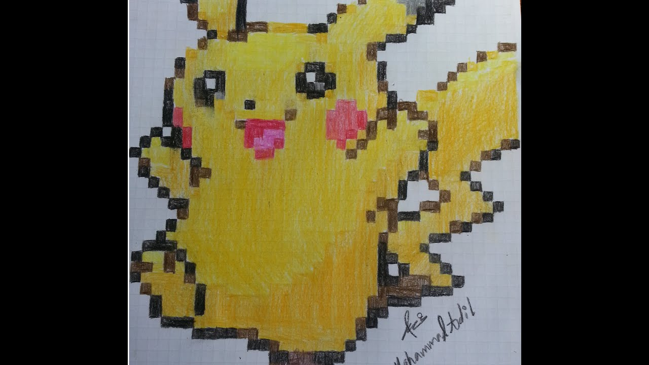 how to draw pikachu pixel art youtube