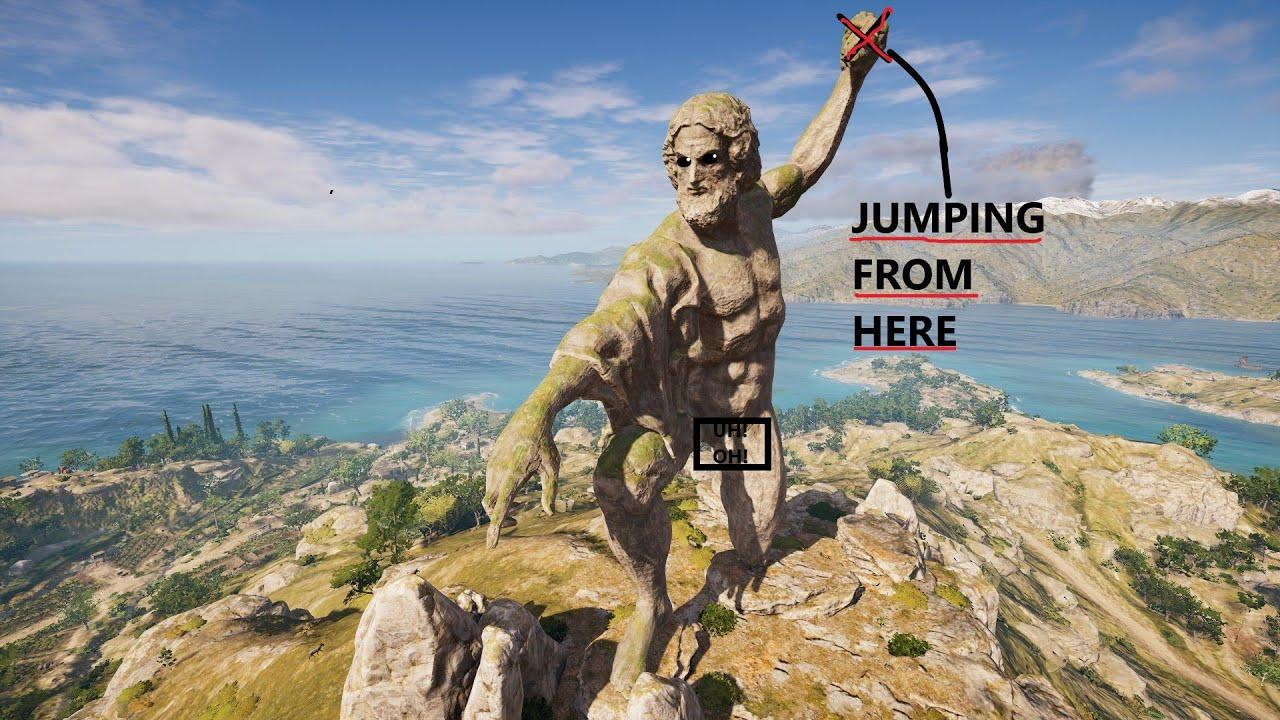 Assassins Creed Odyssey - Climbing On Lightning Zeus