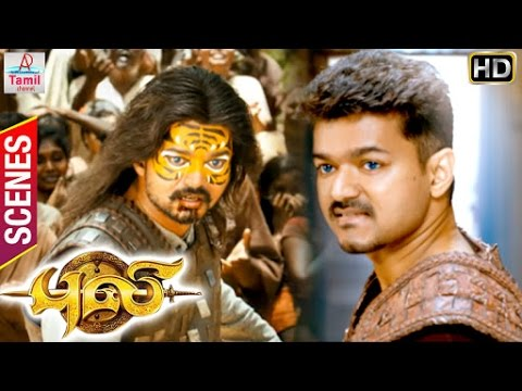 Puli Tamil Movie | Scenes | Sudeep father Vijay and Nandita | Vijay has to stop Kanya Pooja
