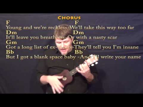 Blank Space - Ukulele Cover in F with Chords and Lyrics