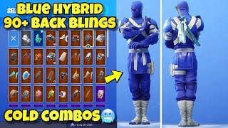 "NEW ""BLUE HYBRID"" SKIN Showcased With 90+ BACK BLINGS! Fortnite Battle Royale (BLUE HYBRID COMBOS)"
