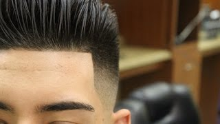 Repeat youtube video Slicked Back Pompadour with Bald Fade; pomp; scissor haircut; razor fade