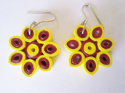 Flower Design Quilling Paper Earrings Making At Home Handicrafts