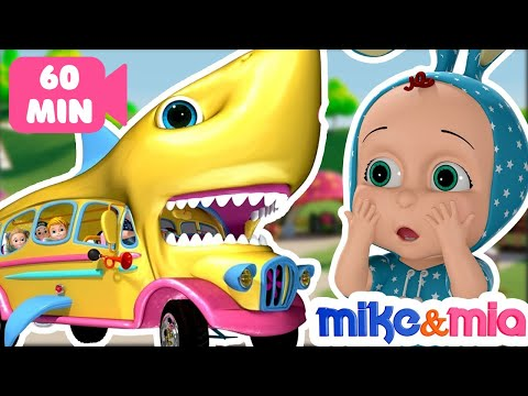 Baby Shark Bus Song | Wheels on the Shark Bus | Baby Shark Nursery Rhymes and Songs | Mike and Mia