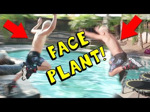 8 YEAR OLD KID DOING EXTREME SPORTS & JUMPS INTO POOL