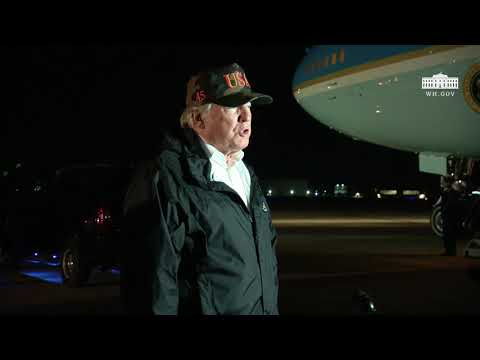 President Trump Delivers a Statement from Point Mugu Naval Air Station