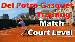 Del Potro vs Gasquet Training Match 2013 (Court Level)