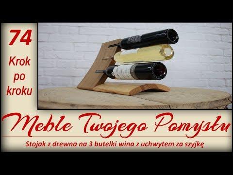 Stojak z drewna na 3 butelki wina z uchwytem za szyjkę / Wooden stand for 3 bottles of wine