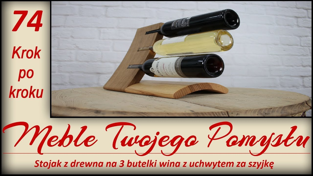 Stojak Z Drewna Na 3 Butelki Wina Z Uchwytem Za Szyjkę Wooden