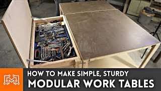 Simple Modular Work Tables (WITH MAGNETS!) // Woodworking How To