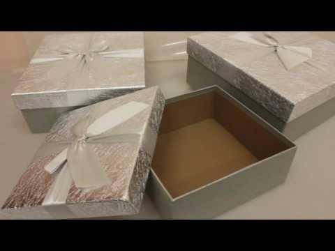 Подарочные коробки набор из 3шт  Квадрат Серебро  26х26х11см Артикул 12872 1