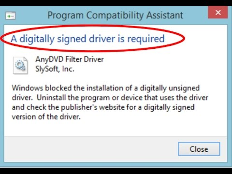 how to fix windows requires a digitally signed driver