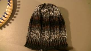 Loom Knit Reversable Chunky Ribbed Hat Beginning to End