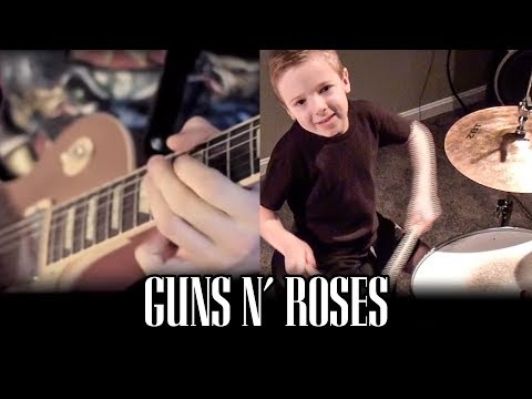 SWEET CHILD O MINE (6 year old drummer) Cover by Avery Drummer Molek, Karl Golden & Tony Noyes