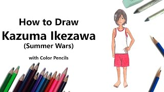 How to Draw Kazuma Ikezawa from Summer Wars with Color Pencils [Time Lapse]