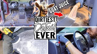 Cleaning The Dirtiest Car Interior Ever! Complete Disaster Full Interior Car Detailing Jeep Cherokee