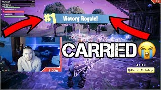 LosPollosTv Gets Carried To A W On Fortnite (Funny Gameplay Fails)