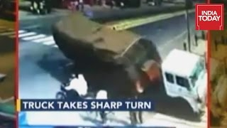 Speeding Truck Crushes Four People Caught On Camera