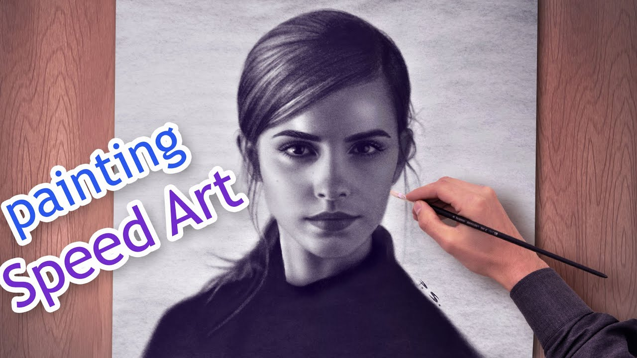 Emma watson amazing speed paint beautiful girls hd draw face woman youtube