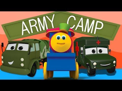 บ๊อบรถไฟ | เยี่ยมชมค่ายทหารบก | เรียนรู้ยานพาหนะ | Bob Train Videos | Visit to Army Camp