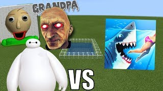 BAYMAX, BALDI'S BASICS & GRANDPA HORROR VS HUNGRY SHARK in Minecraft PE