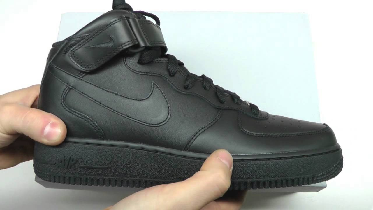 best authentic a75ae e3551 MOVESHOP NIKE AIR FORCE 1 MID 07 315123 001 BLACK - YouTube