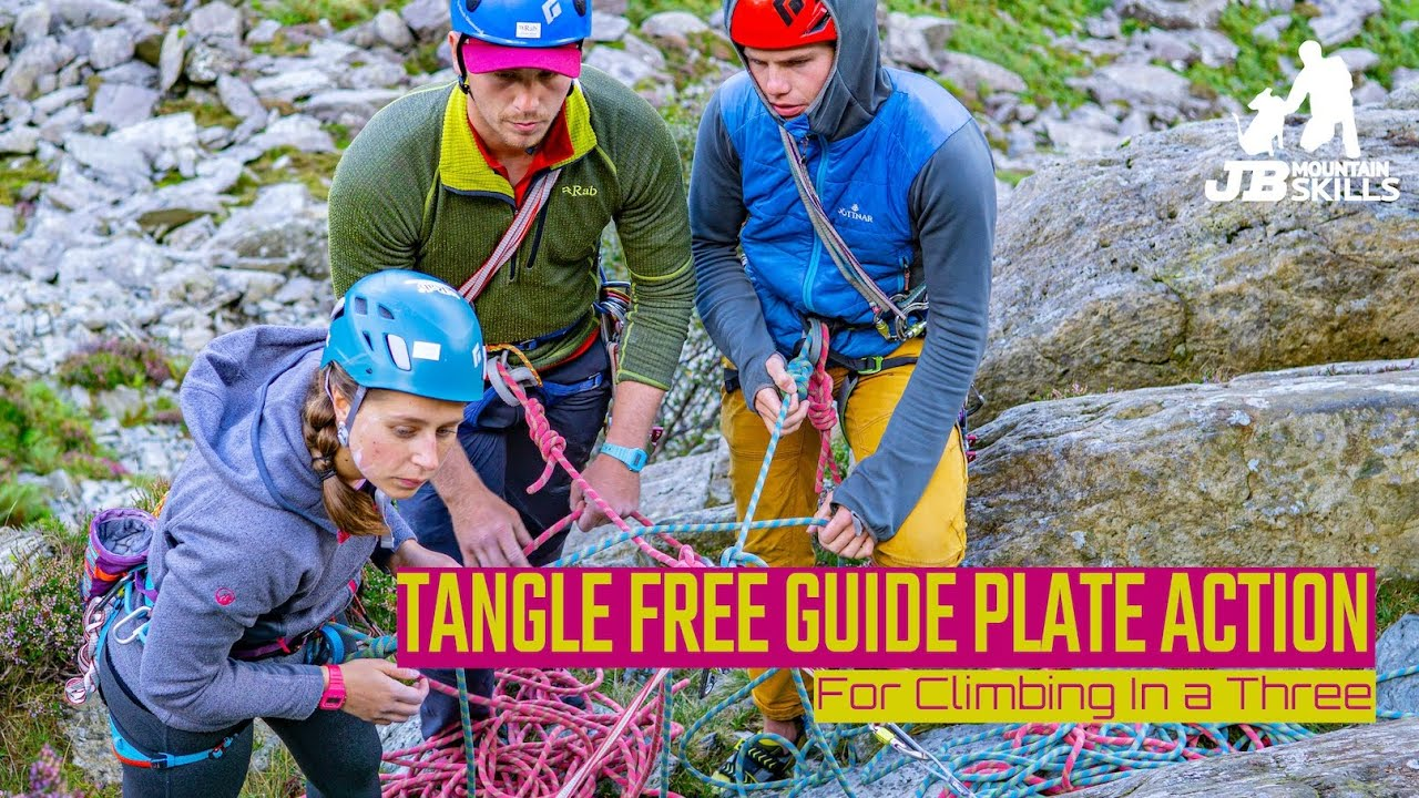 Tangle free guide plate belay change overs...
