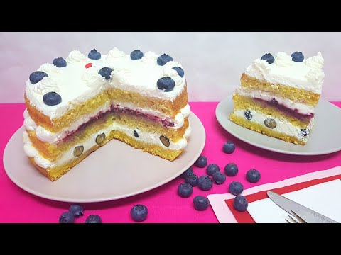 Tarta de Nata y Frutos Rojos - Con TRUCO para que no se baje la nata #91